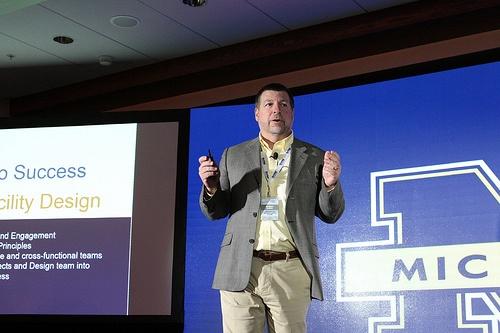 Bob Harris from University of Michigan Health System talks lean design at the Health Facilities Innovation Forum.
