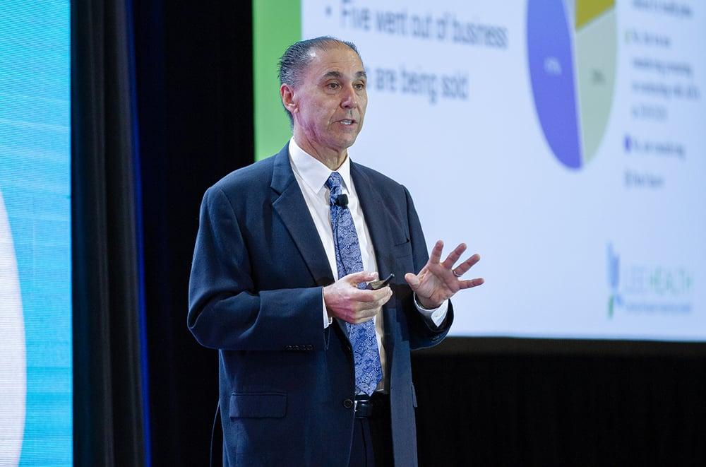 Larry Antonucci of Lee Health talking at HealthSpaces