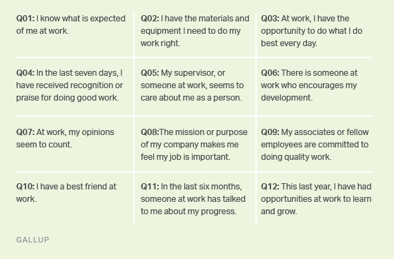 Gallup's 12 dimensions of employee engagement.